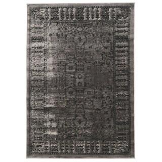 Linon Platinum Collection Isphanan Grey/Black Persian Modified Polyester Area Rug (8' x 11') (Ove