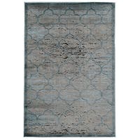 Linon Platinum Collection Trellis Grey/Blue Geometric Modified Polyester Area Rug (Overstock Excl