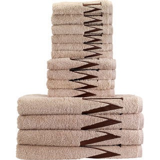 14-piece Linen/ Brown Monogram Towel Set