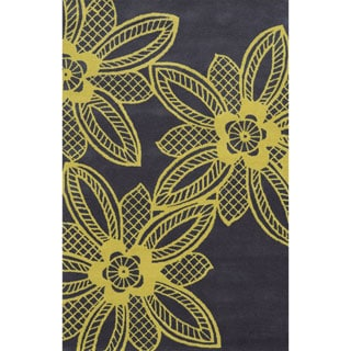 Grey/ Yellow Bradberry Downs Collection 100-percent Wool Accent Rug (8' x 10')
