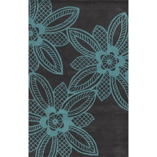 Grey/ Turquoise Bradberry Downs Collection 100-percent Wool Accent Rug (8' x 10')
