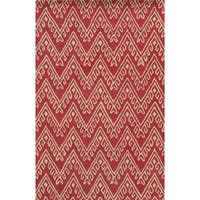 Pink/ White Bradberry Downs Collection 100-percent Wool Accent Rug - 5' x 8'