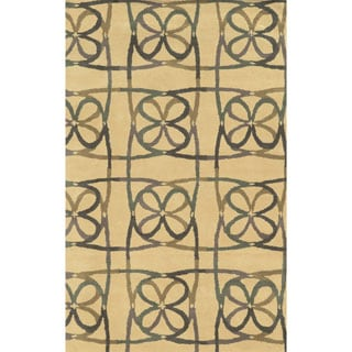 Natural/ Grey/ Green/ Plum Dark Tan Bradberry Downs Collection 100-percent Wool Accent Rug (3' x 5')