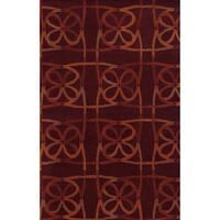 Red/ Rust/ Dark Rust/ Darkest Rust Bradberry Downs Collection 100-percent Wool Accent Rug (8' x 10')