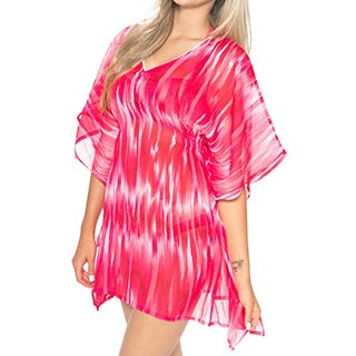La Leela SUPER LIGHTWEIGT Chiffon Beachwear Dress Swimsuit Bikini Cover up Pink Top