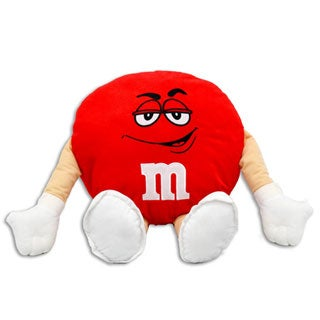 M&M 20-inch Plush Red Pillow