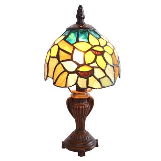 River of Goods 11.5-inch Tiffany Style Stained Glass Sunflower Blossoms Accent Lamp