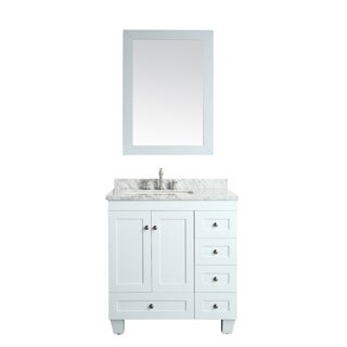 Eviva Acclaim C. 30-inch Transitional White Bathroom Vanity with White Carrera Marble Counter-top