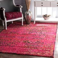 nuLOOM Traditional Vintage Modern Cherry Pink Rug (7'10 x 11') - 7'10 x 11'