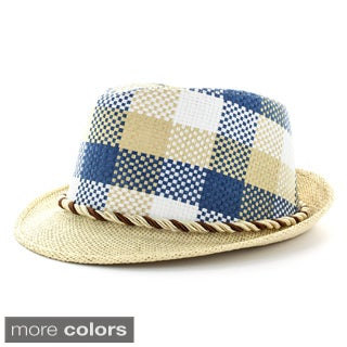 Faddism Men's Blue Plaid Fashion Fedora Hat