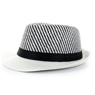Faddism Men's Black/ White Fashion Fedora Hat