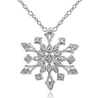 Icz Stonez Sterling Silver or 18k Gold Over Silver Cubic Zirconia Bursting Snowflake Necklace