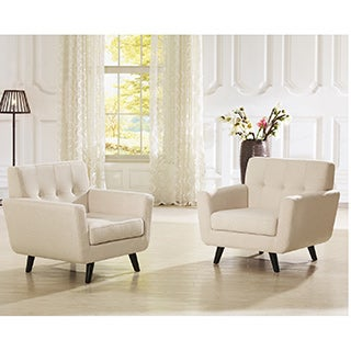 Baxton Studio Novak Contemporary Beige Linen Upholstered Armchair With Button Grid Tufting Clean Lin