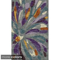 Rizzy Home Abstract Grey Bradberry Downs 100-percent Wool Hand-Tufted Accent rug (5' x 8') - 5' x 8'