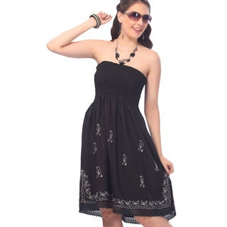 La Leela Tube Dress Cover up RAYON Strap Stretch HAND Embroidered Women Black