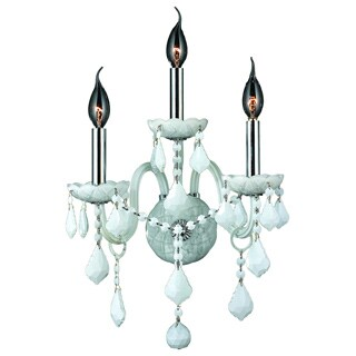 Venetian Italian Style 3-light Chrome Finish and White Crystal Candle 13-inch Wide Medium Wall Sconce