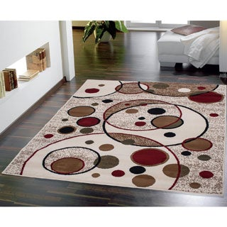 Beige Modern Circles Design 3-Piece Area Rug Set