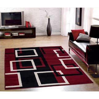 Sweet Home Modern Boxes Dark Red 3-piece Area Rug Set (2' x 3' / 2' x 5' / 5' x 7')