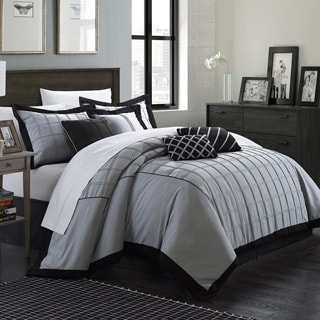 Chic Home Oversized and Overfilled Reynold Pin-tuck Color Block 8-piece Comforter Set