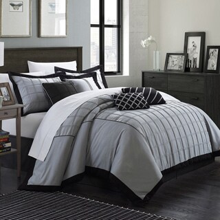 Chic Home Oversized And Overfilled Reynold Pin Tuck Color Block 8 Piece  Comforter Set