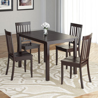CorLiving DRG-595-Z3 Atwood 5-piece Dining Set with Cappuccino Stained Chairs