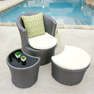 Outdoor Grey Synthetic Rattan Lounge Chair/ Ottoman/ Side Table Set
