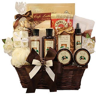 Shop easter gift baskets discover our best deals at overstock essence of luxury warm vanilla spa bath and body gift basket set negle Image collections