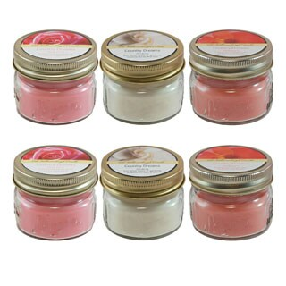 Scented Candles- Floral Collection in 3oz Glass Mason Jars (6 Count)