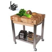 John Boos CUCT24-D Cucina Technica 30 x 24 Cart with Undershelf, 4-inch Rock Maple Top and J. A. Henckels 13-piece Knife Set