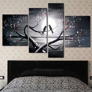 Design Art 'Romantic Love Birds Painting' 55x32-inch 4-piece Art Set