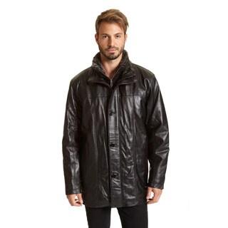 Excelled Men's Black Faux Fur Leather Jacket