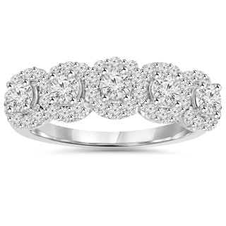 14k White Gold 1 1/10 ct TDW Diamond Anniversary Ring
