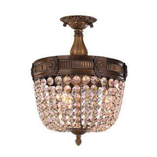 Winchester D12-inch H14-inch Antique Bronze Finish Golden Teak Crystal 3-light Flush Mount