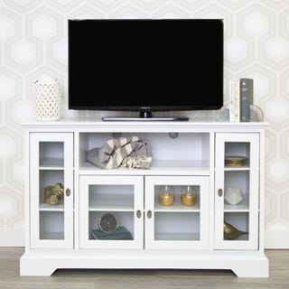 "52"" White Wood Highboy Style TV Stand"
