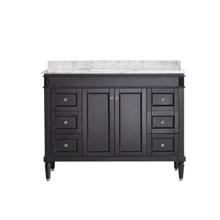 Vinnova Catania 48-inch Espresso Mirrorless Single Vanity with Carrara White Marble Top