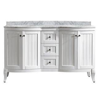 Vinnova Verona 60-inch Double Vanity in White with Carrara White Marble Top (Mirrorless)