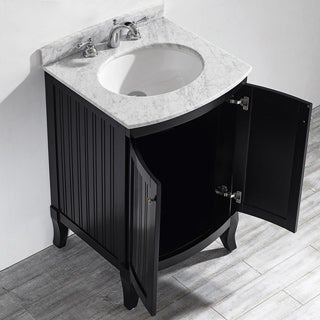 Vinnova Verona 24-inch Single Vanity in Espresso with Carrara White Marble Top (Mirrorless)