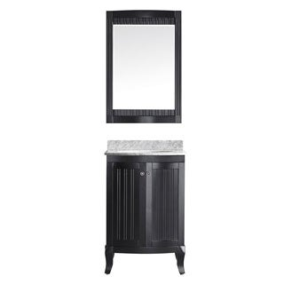 Vinnova Verona 24-inch Single Vanity in Espresso with Carrara White Marble Top with Mirror