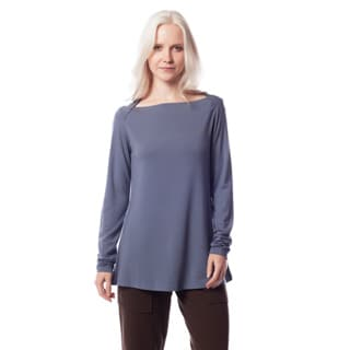 AtoZ Women's Modal Long Sleeve Boatneck Top