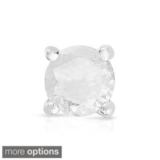 Finesque Sterling Silver or Platinum Over Sterling Silver 1/10 ct TDW Single Diamond Stud Earring