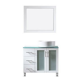 Vinnova Tuscany 36-inch White Single Vanity with White Vessel Sink, Glass Countertop and Mirror