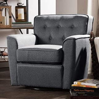 Baxton Studio Canberra Contemporary Grey Fabric Upholstered Button-tufted Swivel Lounge Chair with Arms