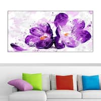 Design Art 'Blooming Purple Flower' 40 x 20 Canvas Art Print - 40 in. wide x 20 in. high