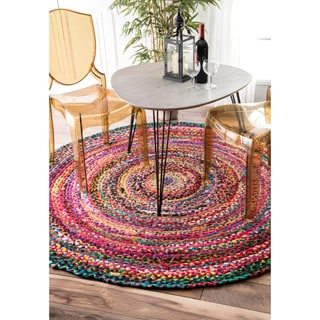 nuLOOM Casual Handmade Braided Cotton Multi Rug (6' x 6' Round)