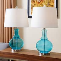 Abbyson Ellis Turquoise Glass Table Lamp (Set of 2)
