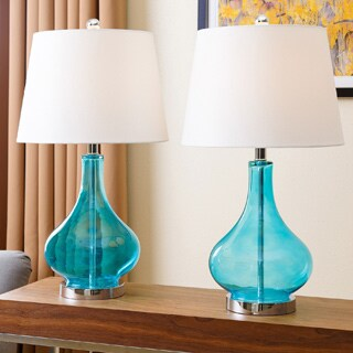Abbyson Luciana Turquoise Glass Table Lamp (Set of 2)