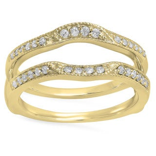 14k Yellow Gold 1/4ct TDW Round Diamond Millgrain Double Guard Anniversary Band (H-I, I1-I2)