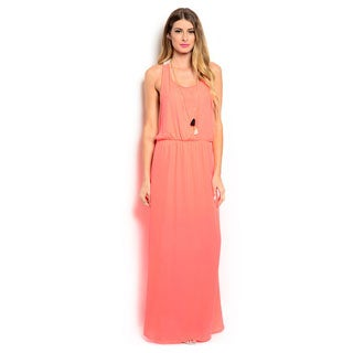 Shop the Trends Women's Crochet Lace Back Sleeveless Maxi Dress with Blouson Waist