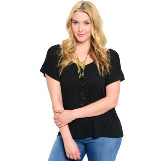 Shop the Trends Women's Plus Size Short Sleeve Woven Top with Boat Neckline and Center Eyelet Panel