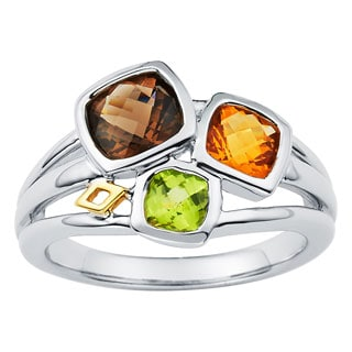 Boston Bay Diamonds 18k White Gold and Sterling Silver Multi-gemstone Ring